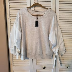 Kensie Cotton Bell Puff Sleeve  Sweatshirt (XL)